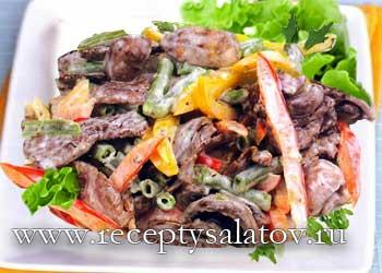 Мясной салат с грибами и фасолью