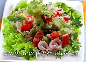 Новогодний салат креветки и авокадо