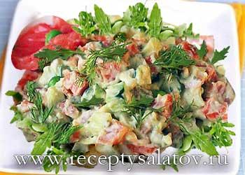 Праздничный салат оливье с семгой